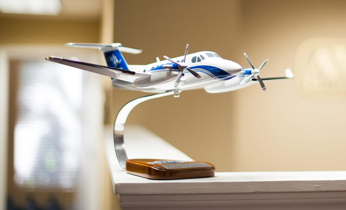 Plane trophy on desk