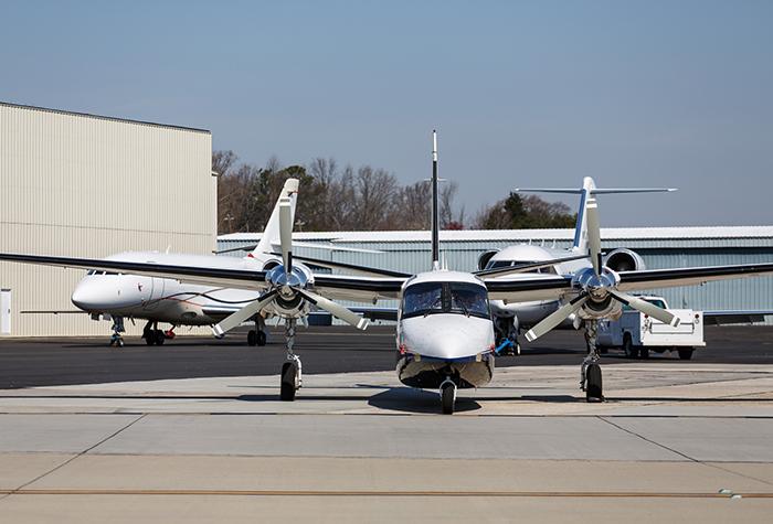 Turbo prop on runway