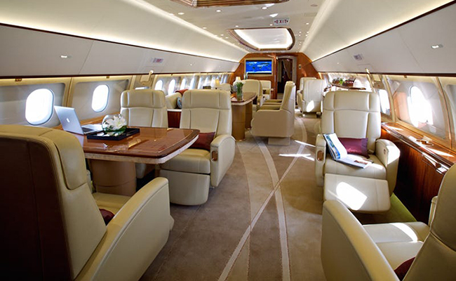 Entertainment suite in private jet main cabin