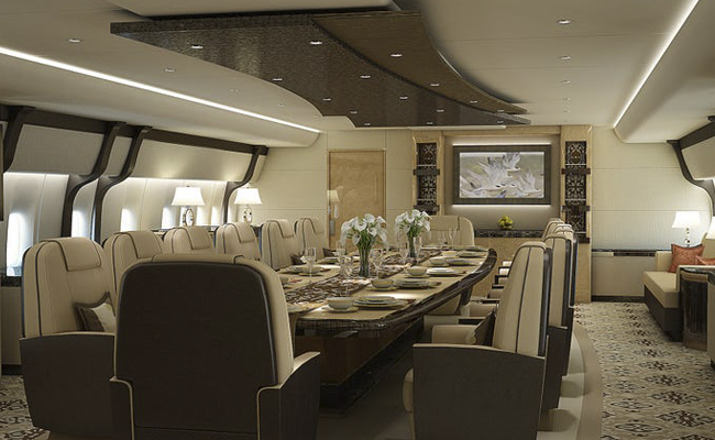 Dining room variation on private jet