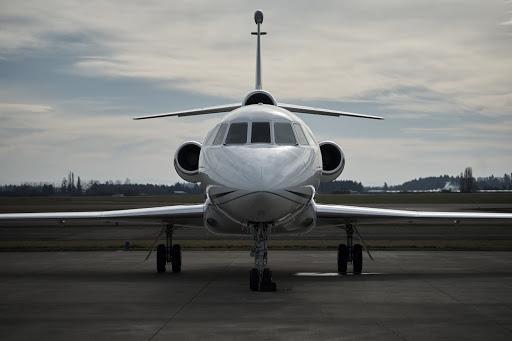 Private jet facing forward
