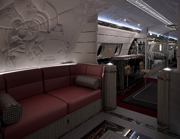 View of bar and seating in hollywood airship