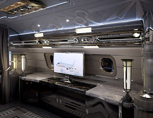 Entertainment suite on Hollywood Airship