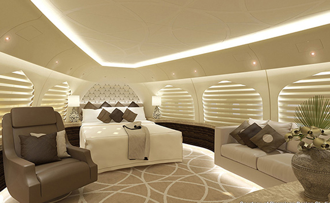 Bedroom on private jet