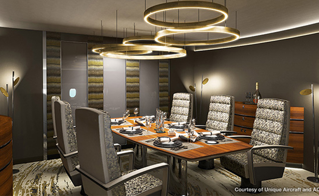 Dining room space on private jet