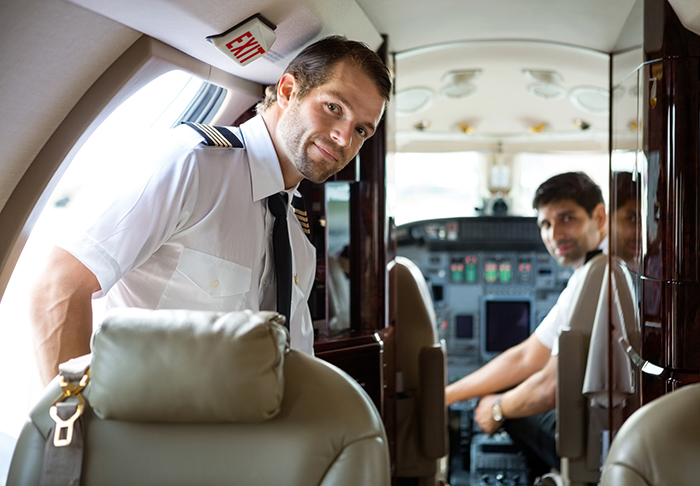 Pilot on private jet