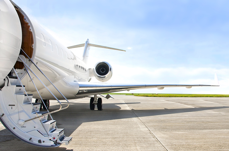 private jet ready for boarding