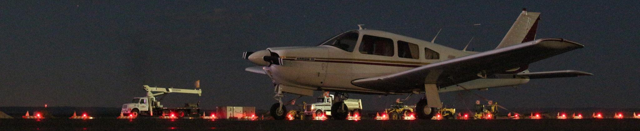 Prop plane on runway