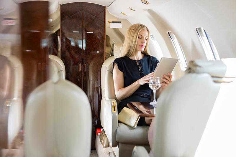 Woman taking test flight