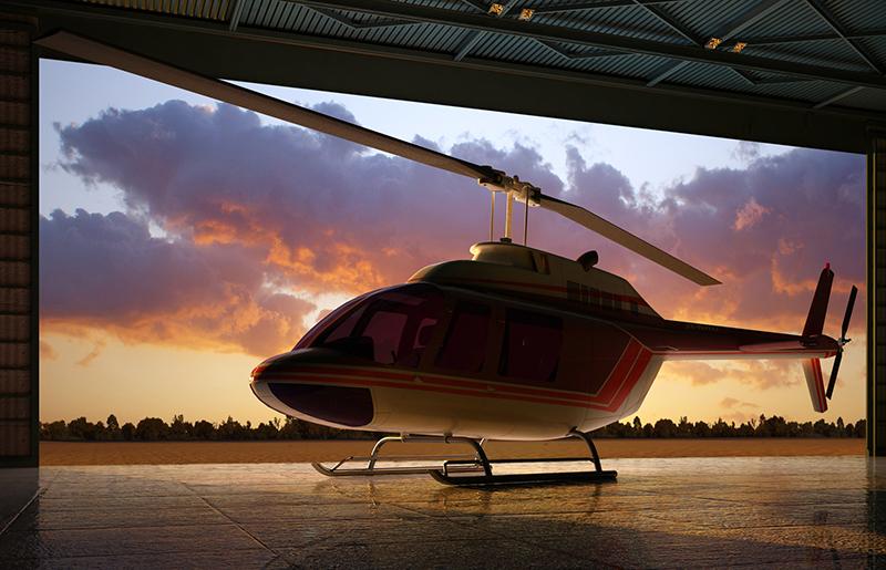 Helicopter in hangar