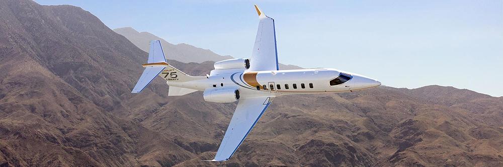 Learjet flying