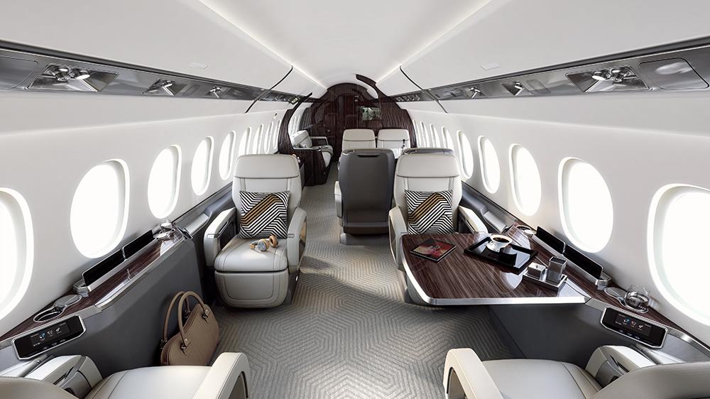Modern interior of the Falcon 6X